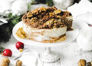 Мраморный чизкейк с грецкими орехами