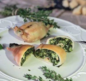 кальмары фаршированные зеленью и сыром
