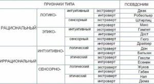 соционика типы личности описание тест