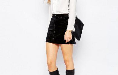 С чем носить черную джинсовую юбку