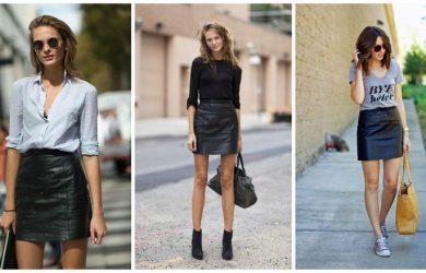 С чем носить кожаную юбку короткую